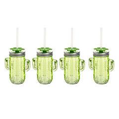 Pack 4 vasos vidrio cactus con tapa