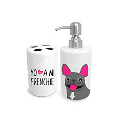 Set de baño bull dog francés gris