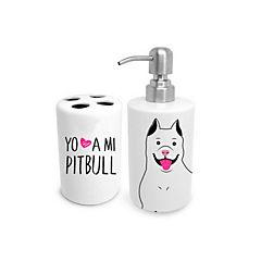 Set de baño pitbull blanco