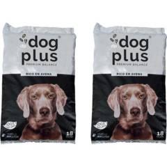 DOG PLUS - Pack 2 alimento para perro adulto 18 kg rico en avena