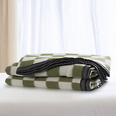 Frazada 100% lana cuadro grande 1.5p verde blanco