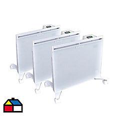 Pack de 3 estufas mural wally glass 1000 W
