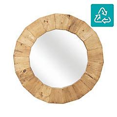 Espejo madera reciclada redondo 80 cm