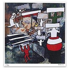Grabado Industria con Protesta artista Bororo 50x70 cm