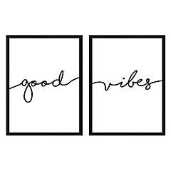 Set 2 cuadros frase good vibes 50x70cm marco negro