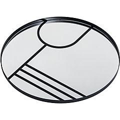 Espejo 55 cm marco metálico con serigrafía negro I