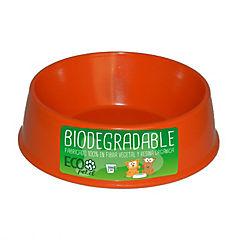 Plato de comida para mascota pequeño biodegradable Naranjo