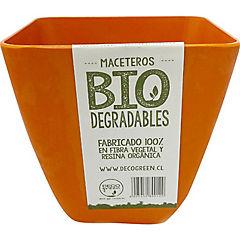 Macetero cuadrado de fibras naturales 13,3x13,3x12,4 cm Naranjo
