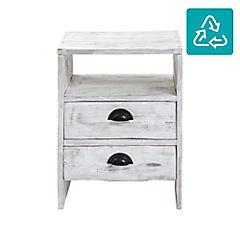 Velador de madera reciclada blanco albayalde