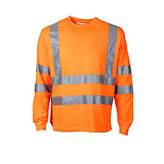 Polera alta visibilidad manga larga cuello polo naranjo fluor L