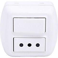 Interruptor simple (9/12) y tomacorriente 10 A Sobrepuesto Blanco