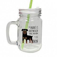 Vaso de vidrio padre rottweiler