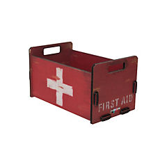 Caja madera mediana diseño help rojo