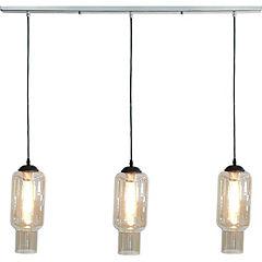 Lámpara de colgar Botella ámbar a cromo 100 cm E27 60W
