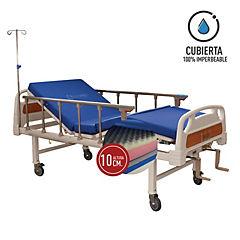 Catre clínico manual 2p + colchón pvc 10 cm