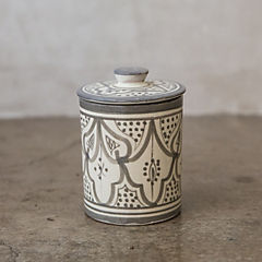 Azucarero Marroquí 8,5 cm cerámica gris