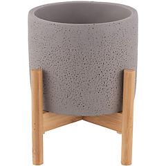 Maceta de cerámica gris con atril de madera café 12 cm
