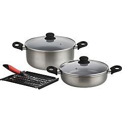 Batería de Cocina 5 Piezas Aluminio Plateado