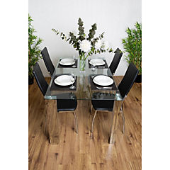Juego de comedor 4 sillas 150x90 Negro