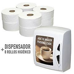 Pack Dispensador + 40 rollos Higienico 250 mtrs 2 hojas