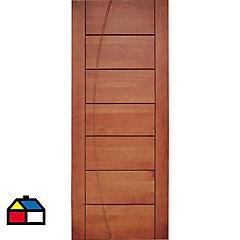 Puerta pino 80x200 cm castaño