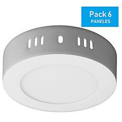 Pack panel LED sobrepuesto redondo 6 W luz día - 6 unidades