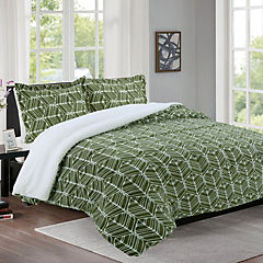 Quilt sherpa estampado verde king
