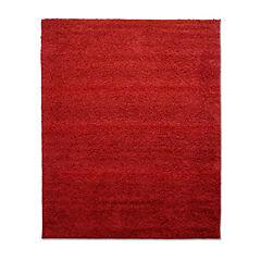 Alfombras shaggy lisa 133x180 rojo