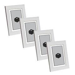 Pack 4 marcos simil ratan 20x25 cm blanco