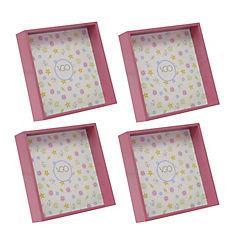 Pack 4 marcos plásticos cuadrado 13x13 cm rosado