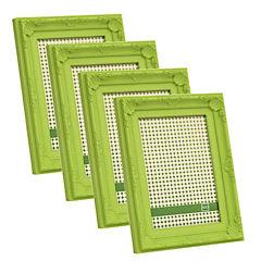 Pack 4 marcos plásticos antique 15x20 cm verde