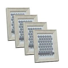 Pack 4 marcos anchos simil madera 13x18 cm natural