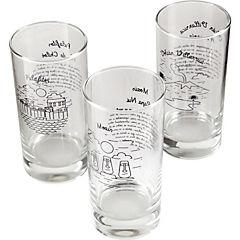 Vasos vidrio 360 ml transparente 6 piezas