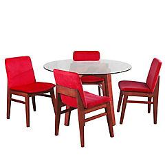 Juego de comedor 4 sillas 120x120 Rojo