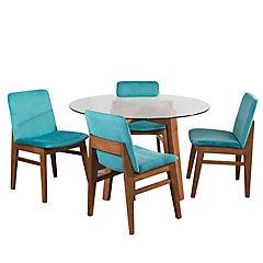Juego de comedor 4 sillas 120x120 Turquesa
