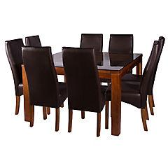 Juego de comedor 8 sillas 130x130 Chocolate