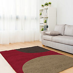 Alfombra shaggy Roma 150x220 cm círculos rojo