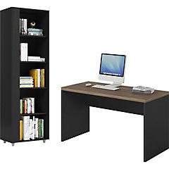 Combo escritorio + librero negro café