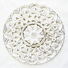 Cuadro panel madera tallada mandala 50x50 blanco