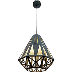 Lámpara de colgar metal nido diamont gris