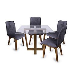 Juego de comedor madera 4 sillas