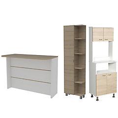 Set mueble microondas + isla de cocina + estante rovere/blanco