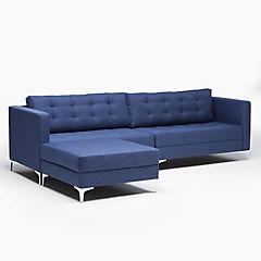 Sofá seccional intercambiable 74x170x280 cm azul