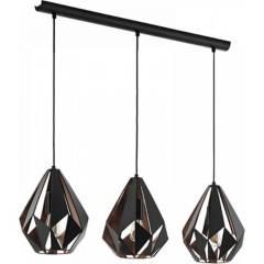 EGLO - Lámpara de colgar acero negro cobre Carlton 3 luces E27 60W