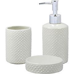 Set de baño cerámica gris 3 piezas