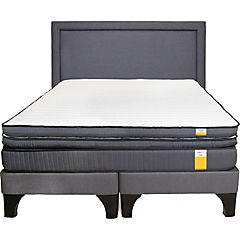 Cama europea full BD + topper + respaldo