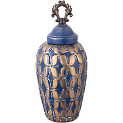 Ánfora cerámica 31 cm azul dorado