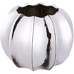 Florero cerámica esfera 10 cm plateado