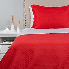 Quilt bicolor rojo gris 1,5 plazas