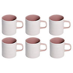 Set 6 mugs Romanticos 300 cc rosado